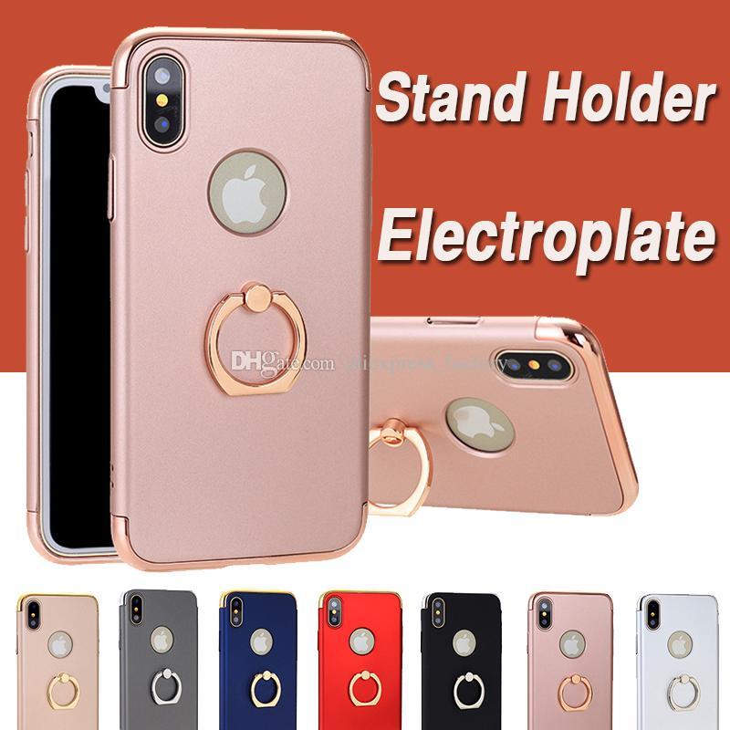 3 in 1 코팅 전기 도금 프레임 도금 케이스 iPhone XS 용 스탠드 홀더 커버가있는 충격 방지 보호 하드 커버 최대 XR X 8 7 6 6S Plus