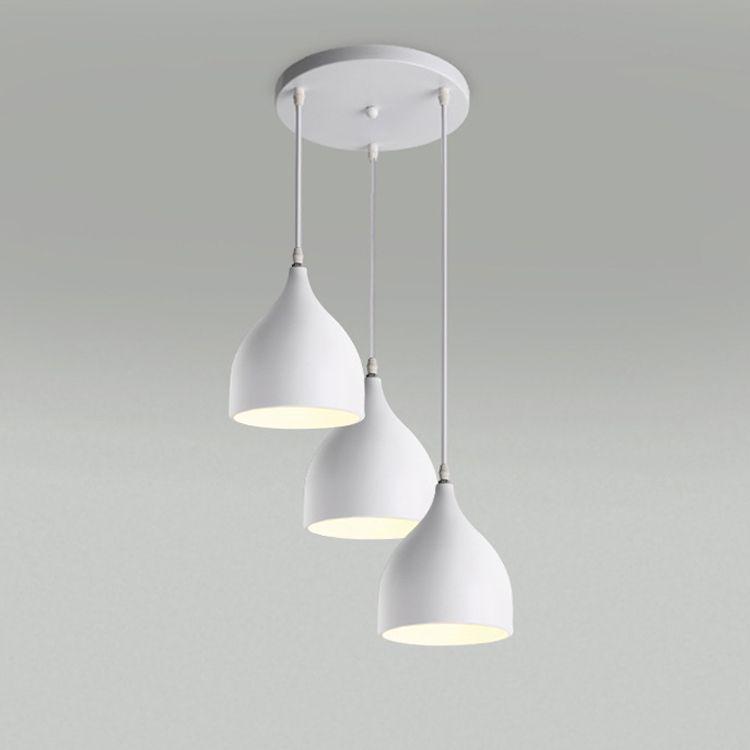 Restoran lambaları Alüminyum lale modern çatı aydınlatma kolye ışıkları bir çanta Nordic klasik kombinasyonu yemekler avizeler E27 Üç tek kafalı