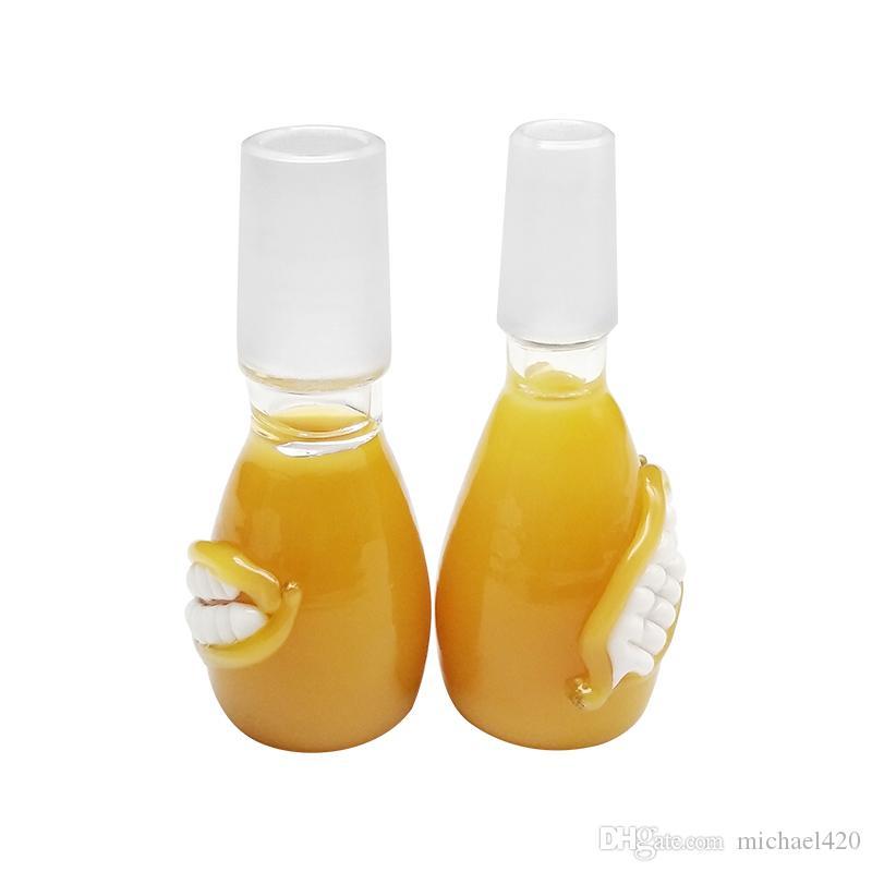 노란 그릇 유리 그릇 기름 가열기는 유리제 물 동소리를 위한 18mm 남성 합동 다채로운 그릇 조각을 동소리를 냅니다