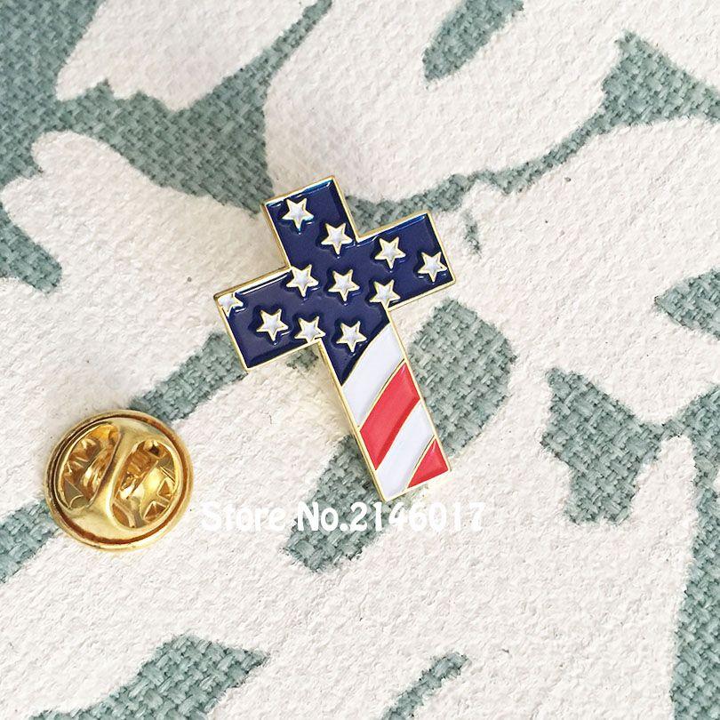 Пользовательские контактный американский США патриотические религиозные ювелирные изделия эмаль отворотом булавки брошь христианский крест контактный значок с флагом США