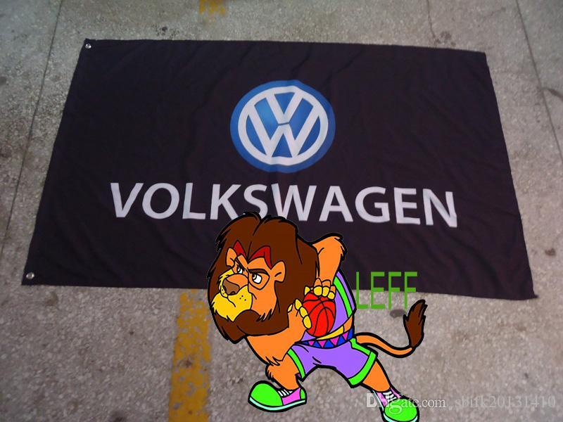 poliestere 90 150cm *, la bandiera nera volkswagen squadra corse, volkswagen striscione nero, stampa digitale