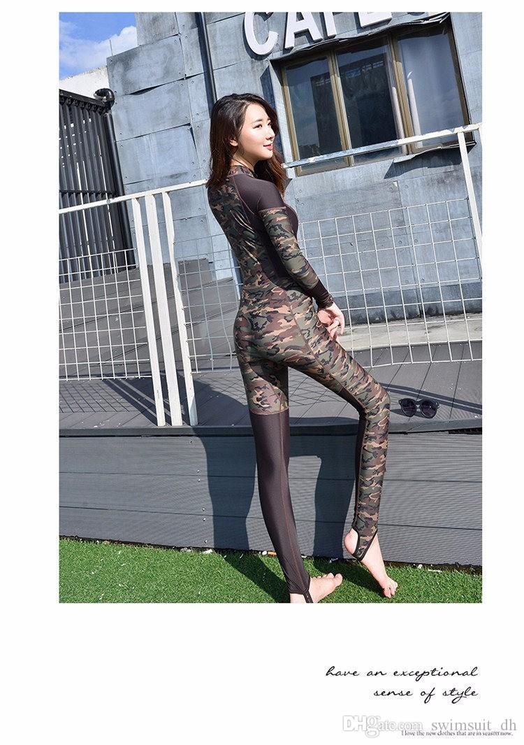 ... Hot Sale 2016 Fashion Lovers Camouflage Wetsuit Surfing Diving Couples  swimwear Zipper One piece bathing suit ... acb87426b