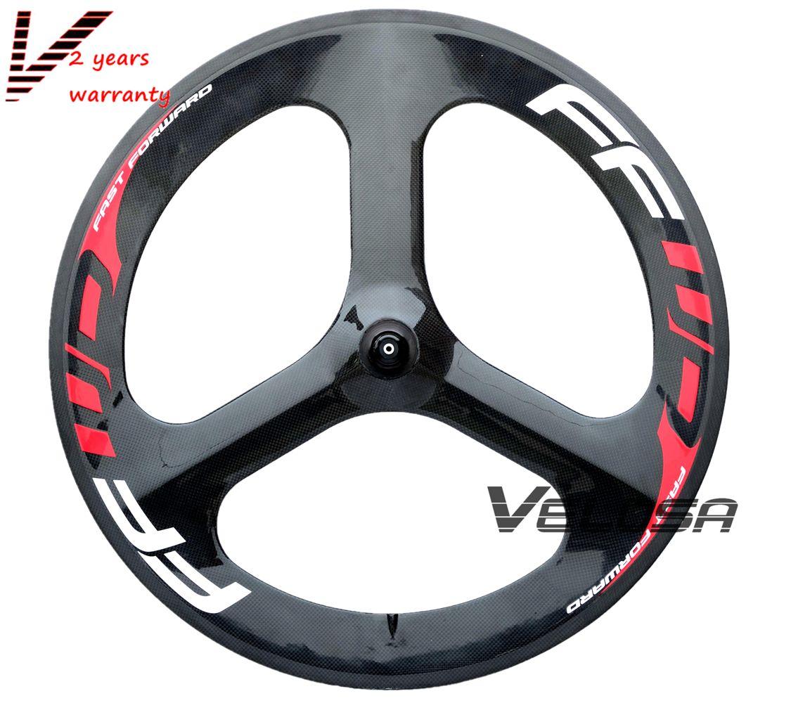 Tri Spoke Track  Wheel Front Tri Spoke Fixed Gear Carbon Fiber Track Bike Wheel