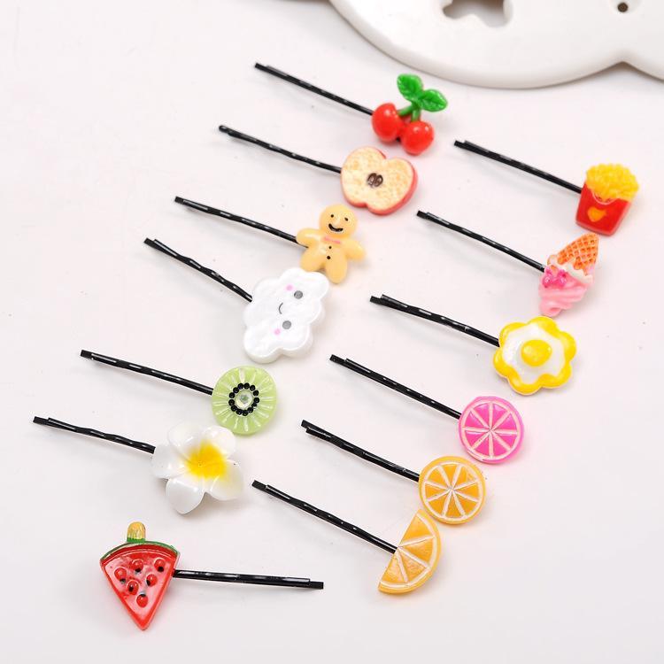 3541 bella frutta capelli parola cartella alimentare su coreano Harajuku bordo di sicurezza clip di limone ciliegia super adorabile