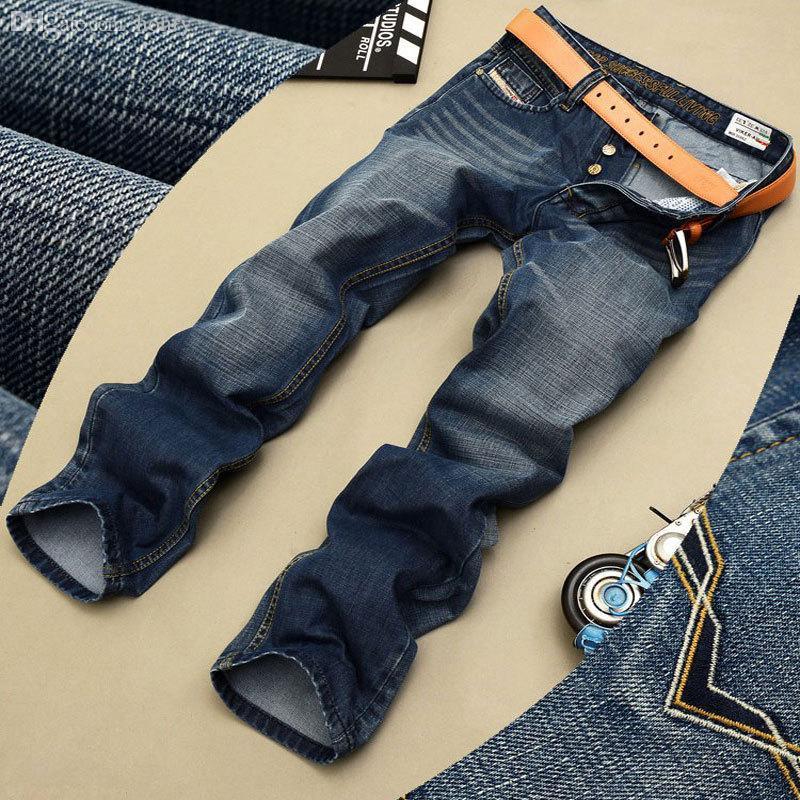 Atacado-jeans mens alta qualidade de cor azul reta jeans rasgados para os homens moda botão motociclista calças jeans 772