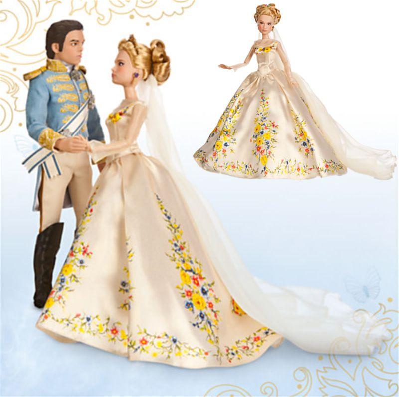2016 Cinderella Girls Dress New Movie Princess Golden Wedding Kids Dresses Costume