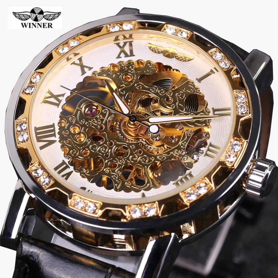 Zwycięzca Zegarek Mężczyźni Skórzany Pasek Ręcznie Nawijający Szkielet Zegarki Męska Sukienka Zegar Biznes Styl Skórzany Band Mechaniczne Wristwatches Slzb76