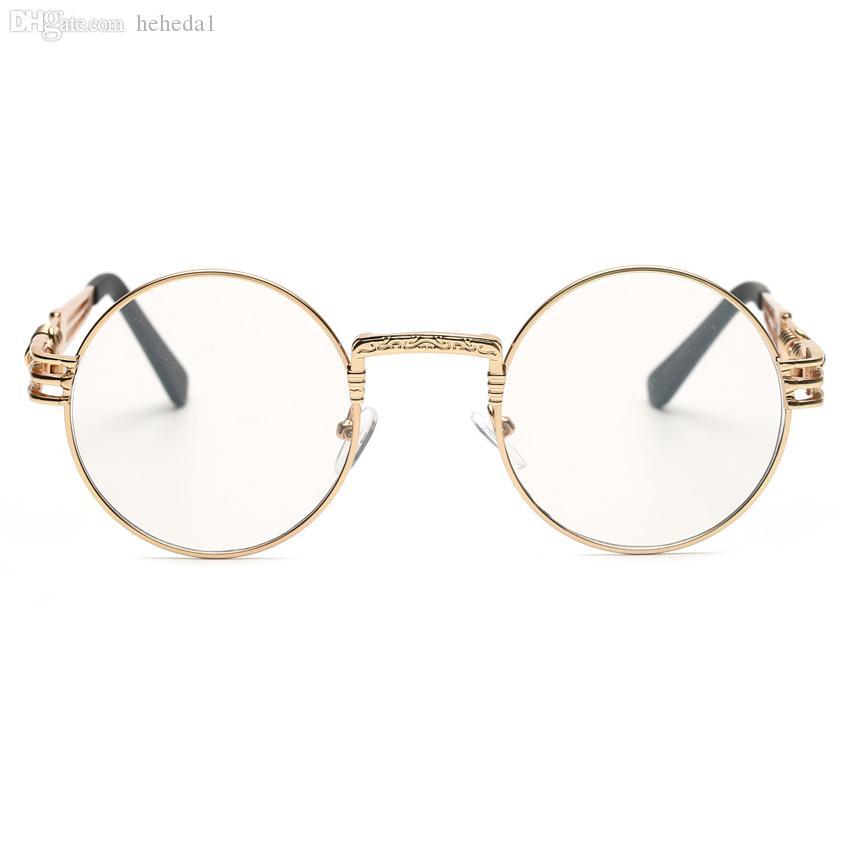 Atacado-novo claro moda ouro rodada armações de óculos para as mulheres pequeno do vintage steampunk armações de óculos redondos para homens masculino metal nerd