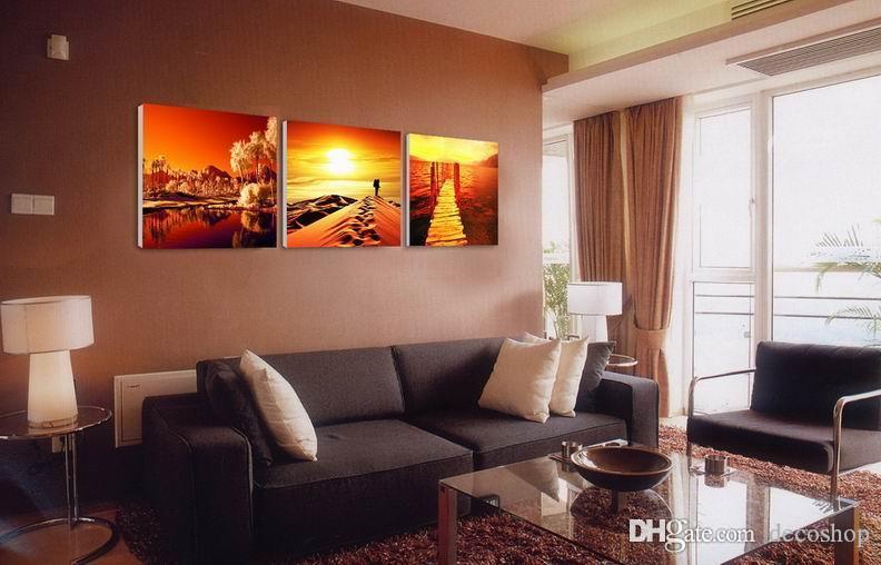 현대 아름 다운 풍경 일몰 그림 Giclee 인쇄 캔버스 홈 장식 벽 예술 Set30320