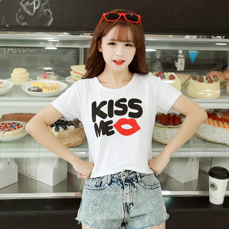 2016 Spring And Summer Ladies Korean New Pattern Student Fashion Self-cultivation W Crop Clothes Women White T Shirts T-shirt
