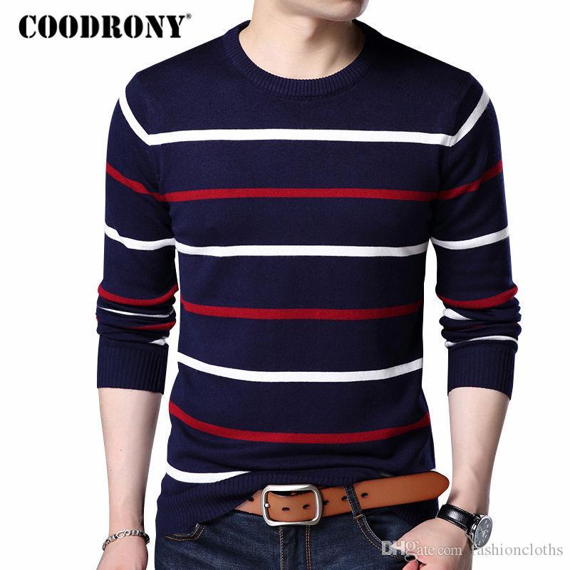 COODRONY O-Neck Pullover Hommes Marque Vêtements 2017 Automne Hiver Nouvelle Arrivée Cachemire Pull En Laine Hommes Casual Rayé Pull Hommes 152