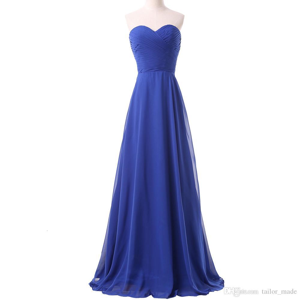 Nuevo Sweetheart Simple Lace up Vestido De Festa Elegante A Line Vestidos de noche Plisados Vestidos de fiesta famosos Vestido Longo