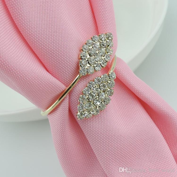 Popular New Bling Crystal Rhinestone Leaf Napkin Rings Metal Wedding Napkin Ring holder for Hotel Wedding Banquet Table Decoration