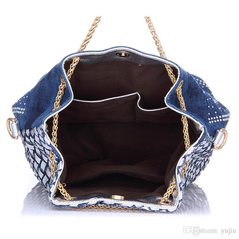 Cluthes Frauen Strand Kette Mit Von Handgewebte Tasche Damen Denim Handtasche Sommer Großhandel Kleine Umhängetasche Eimer Strass Griff rsthQdCx