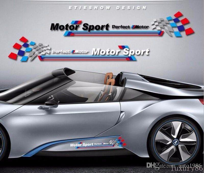 1set white M auto Sport Race Stripes Vinyl Car Truck Body Sticker Side for BMW