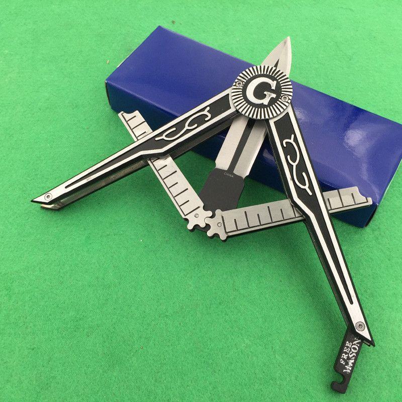 La coltello da ingranaggio del sollevamento massonico 440C alluminio di alluminio di sopravvivenza di sopravvivenza del campeggio del coltello pieghevole del coltello della caccia libera il trasporto 1pcs