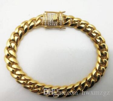 14 K золото круглая мельница кубинская цепь браслет новый инкрустированные Циркон браслет