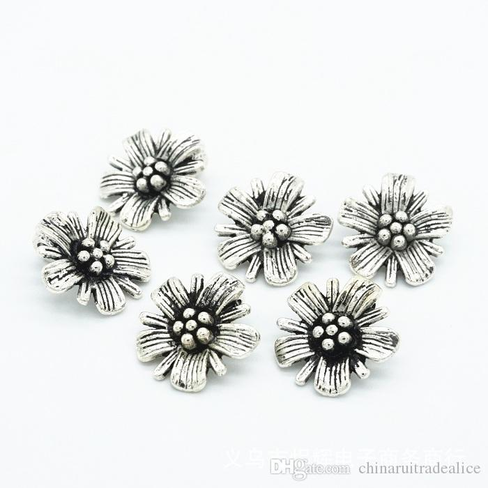 Buttons shank 14mm antique silvery daisy for sweater coat shirt jacket handmade Gift Box Scrapbook Craft DIY Sewing accessories