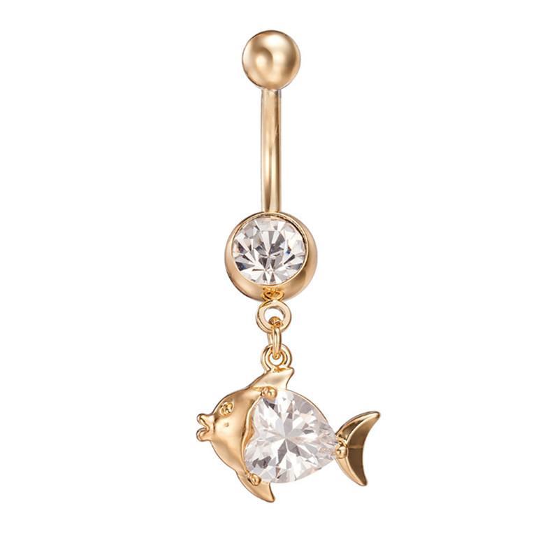 Vendita calda di alta qualità cristallo simpatico pesce navellina bar bell bottone anelli piercing ombelico corpo gioielli per la giovane signora BR-047