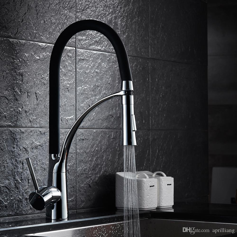 High Quality Bathroom Brass Kitchen Sink Faucet Hot Cold Water Spring Mixer Sprayer Spout Tap Two Functions Chrome+Black Finishes
