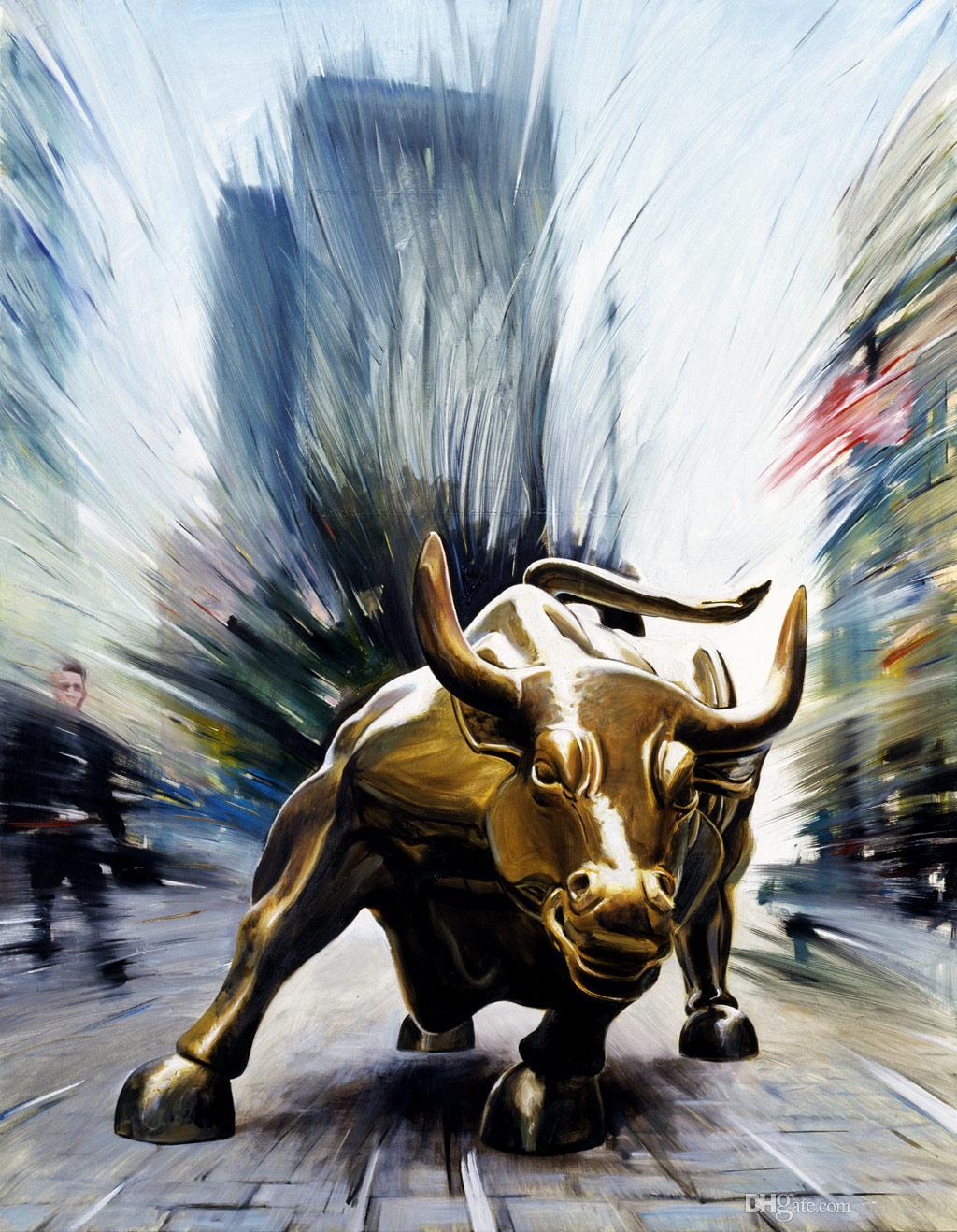 Le Wall Street Bull de New York Nasdaq USA Bowling Green Haute Définition Toile d'artiste Fantaisie Décoration Peinture Fancy1470