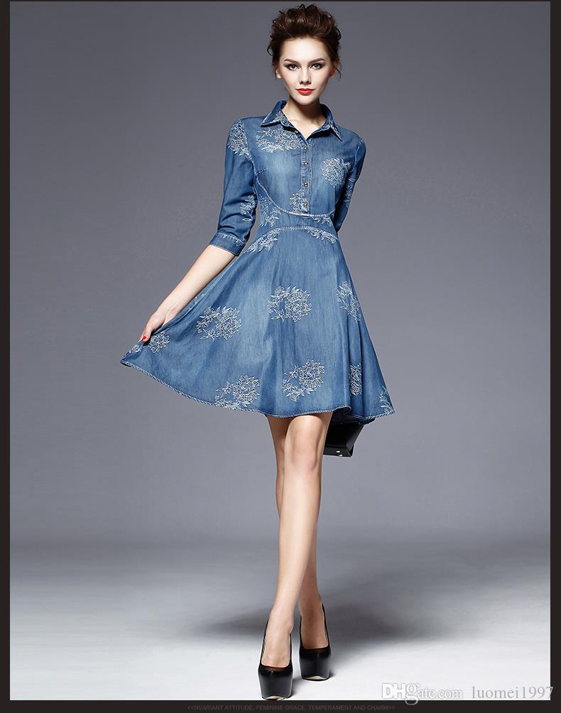 2016 Denim Dress Women Plus Size Half Sleeve Summer Dress Blue Denim ...