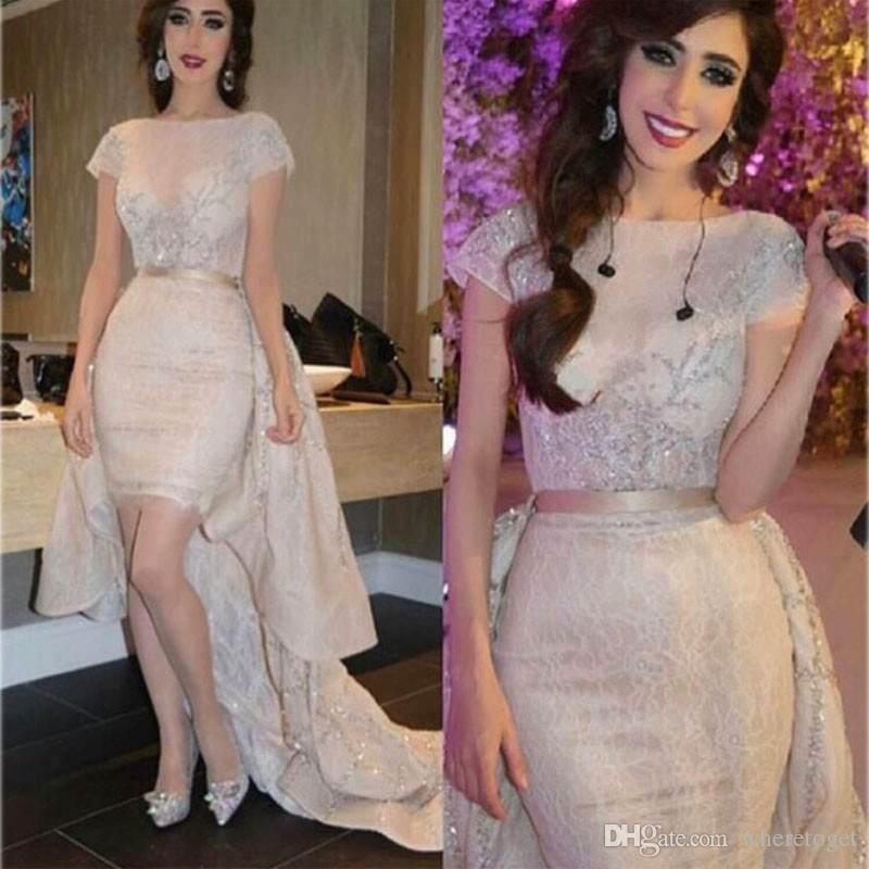 Zuhair Murad Wysokiej Jakości Szampana Koronka Płaszcza Suknie Wieczorowe Z Długim Pociągiem 2019 Gorąca Sprzedaż Musowanie Zroszony Kryształ Arabski Prom Dress