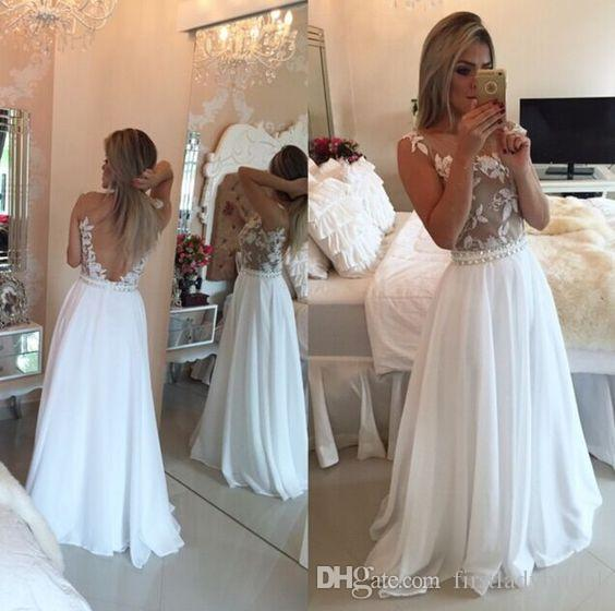 Long Evening Gowns White 2016 Backless Lace Appliques Chiffon Prom Dresses Beaded Sexy Special Occasion Dress For Women