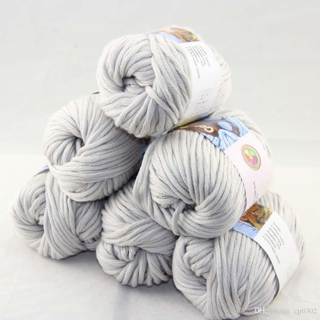 Много 6 BallsX50g специального толстая камвольно 100% хлопок вязание пряжа серебряный серый 2237