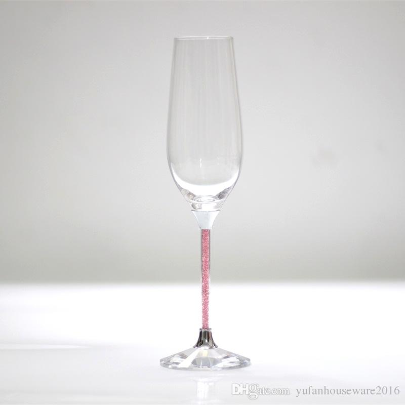 lead free crystal pink color stemware champagne flutes wedding glasses celebration wine goblet best anniversary gifts