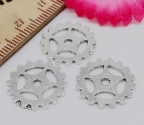 200Pcs Steampu Machinerynk Argento antico ingranaggi Charms ciondolo in lega di zinco per monili che fanno 16mm