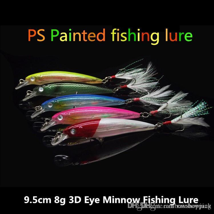 9.5 cm 8 g Plástico ABS Minnow láser señuelo bajo 5 colores Agua dulce Crankbait cebo Pluma ganchos de pesca