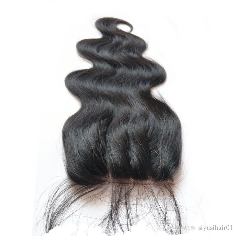 9A 탑 폐쇄 말레이시아 페루 인디언 브라질 버진 바디 웨이브 스트레이트 헤어 위브 4 * 4 레이스 클로저 인간의 머리카락
