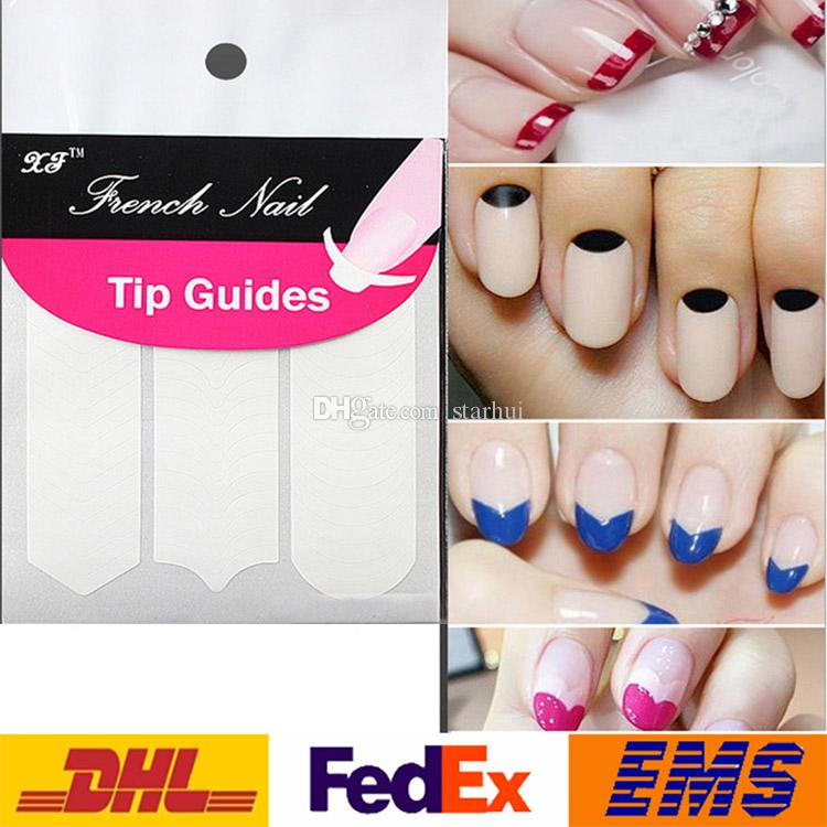 Nail Art Etiketler Çıkartmaları DIY Manikür Nail Art İpuçları Bant Sticker Kılavuzu Şablon Maskeleme Çıkartması Güzellik Araçları Gülümseme Yuvarlak Dalga 1 adet / paket WX-S19