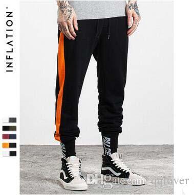 INF Roupas Masculinas Outono Mais Novo Contraste Cor Stripe Calças Compridas Calças de Algodão Com Cordão dos homens Adolescente Oi-rua Lápis Calças