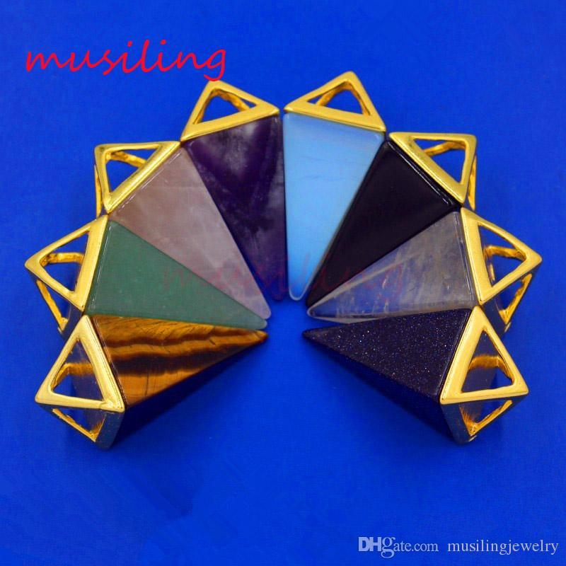 Piramide Ametista Opale ecc. Ciondoli in pietra naturale pendenti con gemme Pendolo Accessori Gioielli europei di moda uomo donna gioielli Regali Ordine della miscela
