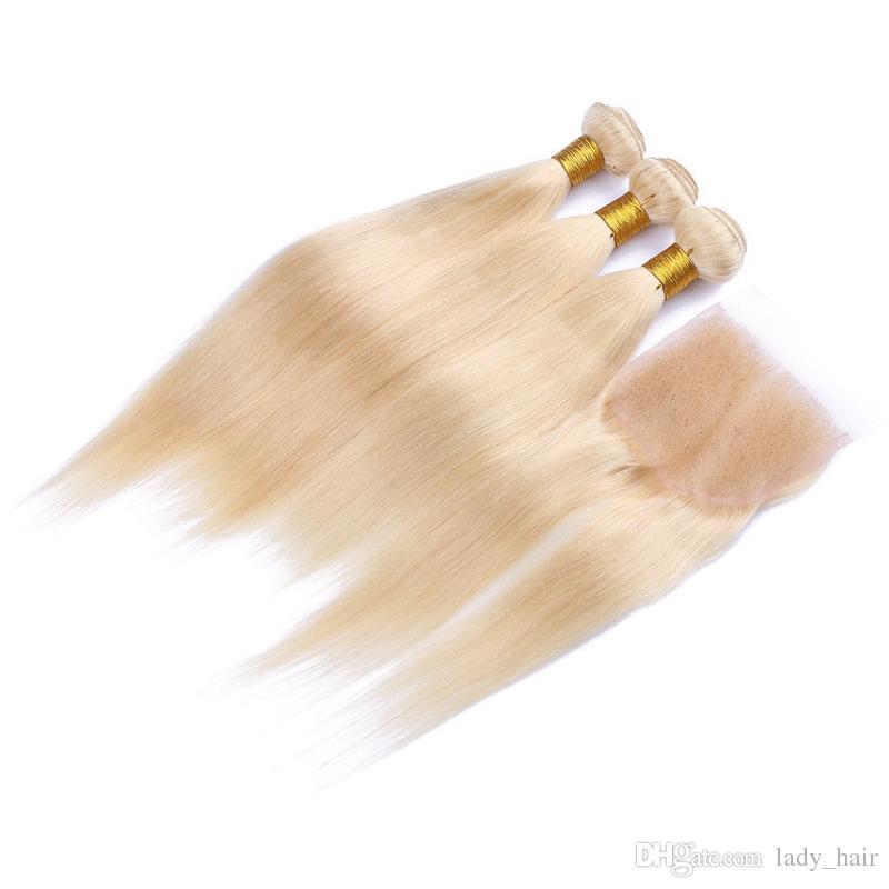 9A Pas Cher Péruvienne Blonde cheveux 3Bundles Avec 1Pc Soyeux Droite 4x4 Dentelle Fermeture 4Pcs Lot Stock 613 Blonde Vierge Cheveux Péruviens Avec Fermeture