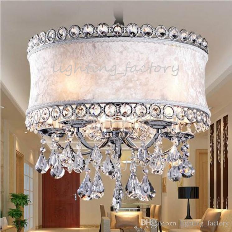 Modern K9 Lâmpada de Pingente de Cristal LEVOU Luz de Teto de Cristal Tecido Luminária Lâmpada Ajustável Quarto Lâmpada Viva