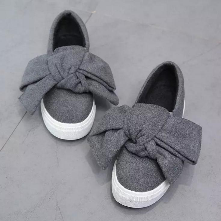 Plus Flaum es großen Bogen Freizeit flache Schuhe Muffin schweren Boden Carrefour Singles Schuhe ein Pedal faule Schuhe
