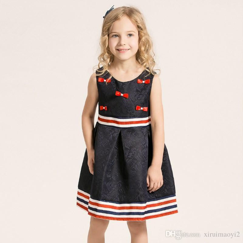 Bow O-Ausschnitt Mädchen Kleider Baumwolle Polyester Solid Floral Regular A-Linie ärmellose Prinzessin Kleider Kurze Schärpen Knielange Kinderkleider