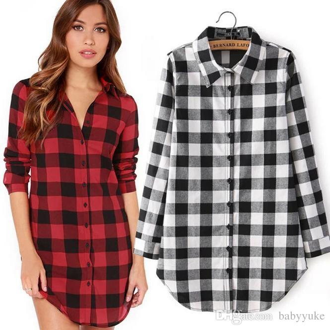 aaa79964bbfe plus size tops women shirts Coat Two Color tops blouses shirts fashion  Plaid Lapel Neck womens ...