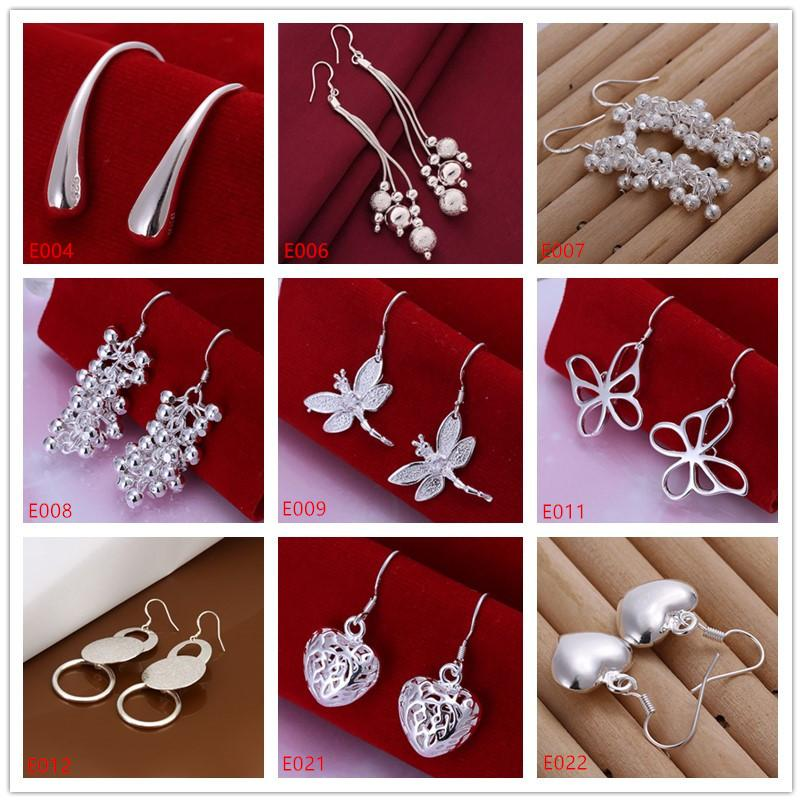 Mix order women's gemstone sterling silver earring 10 pairs a lot mixed style EME17,wholesale fashion 925 silver Dangle Chandelier earrings