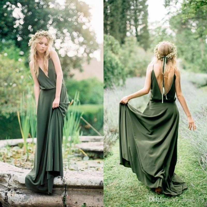Bohemian Style Country Bridesmaid Dresses 2020 Spring New Spaghetti Low Cut Back Olive Green Chiffon Maid Of Honor Wedding Dresses Cheap