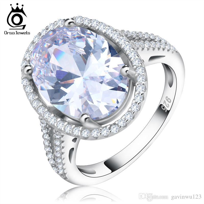 Luxe 6 ct Big Cut ovale Simulé diamant Zircon Anneau avec Micro Pavée CZ Bague pour femmes OR98