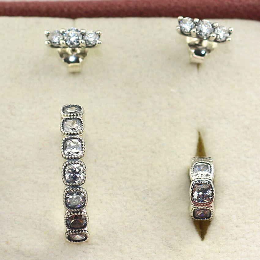 Authentische 925 Sterling Silber funkelnde Eleganz Charm Bead Ring Ohrstecker Schmuck-Set passt europäischen Pandora Armbänder Halsketten