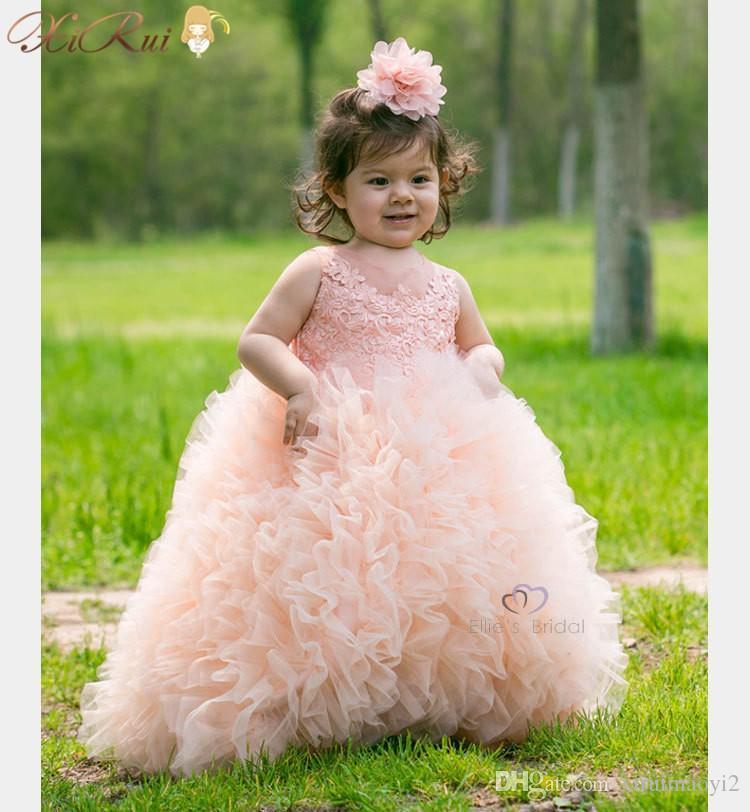 화려한 아이 소녀 미인 드레스 공 가운 자수 Organza 구슬 주니어 꽃 소녀 드레스 꼬리 5 색 결혼식을위한 드레스