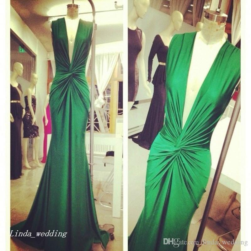 Michael Costello Green Evening Dress Sexy Deep V Neck Celebrity Wear Special Occasion Dress Prom Party Gown