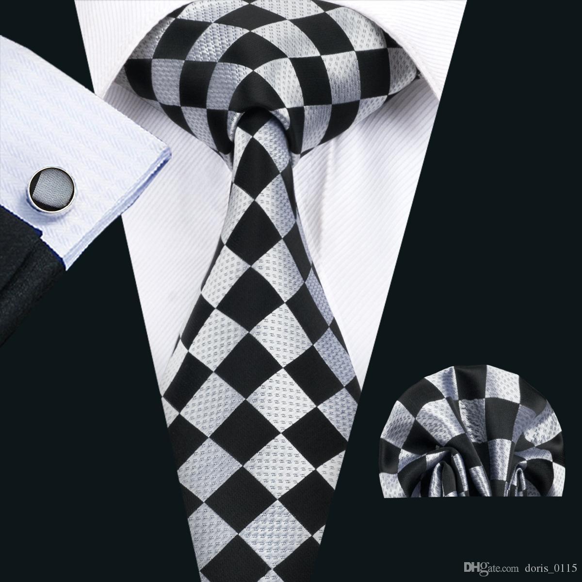 الكلاسيكية الحرير رجل العلاقات البلايد مجموعات ربطة العنق سوداء التعادل المنديل cufflinks مجموعة جاكار نسج اجتماع الأعمال حفل زفاف N-1441