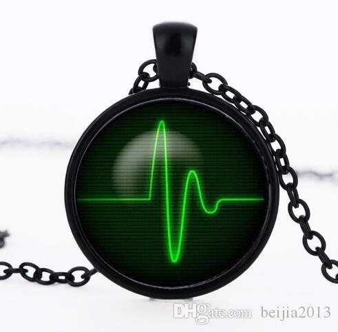 Heartbeat Necklace glass round dome Heart Pendant jewelry Pendant Art gift for men women Green Black necklaces CN-516