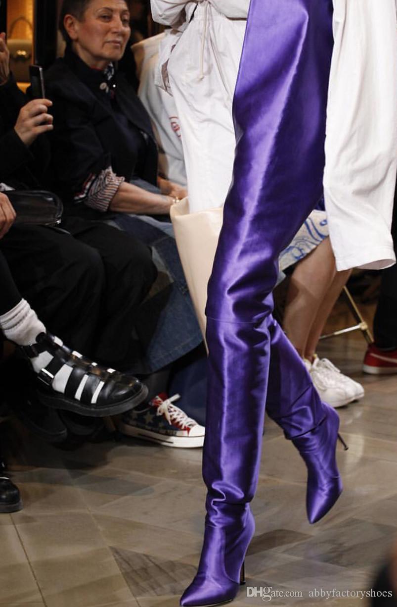 Cetim Sobre O Joelho Bota Mulheres Dedo Apontado Sapatos de Salto Alto Mulheres Moda Runway Coxa Botas Altas Roxas Laranja Rosa Preto Feminino Botas de Show